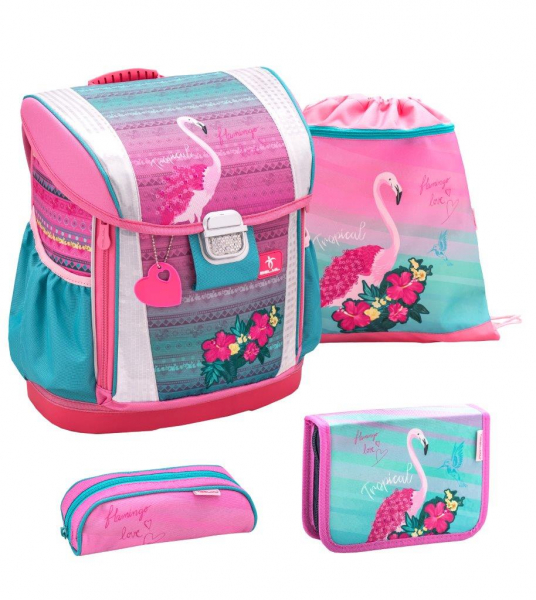 BELMiL Customize me Schulranzenset Set 4 tlg. Pink Flamingo
